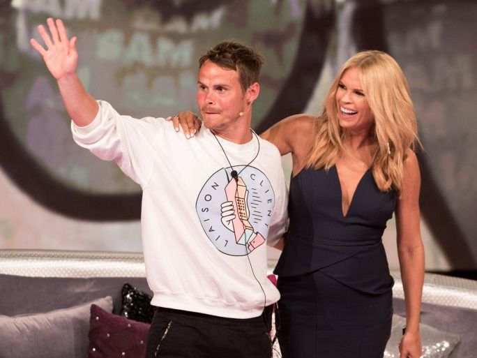 Big Brother evictee Sam Bramham with host Sonia Kruger.
