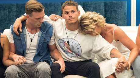 Big Brother evictee Sam Bramham, centre, with housemates Lawson Reeves and Sandra Nixon.