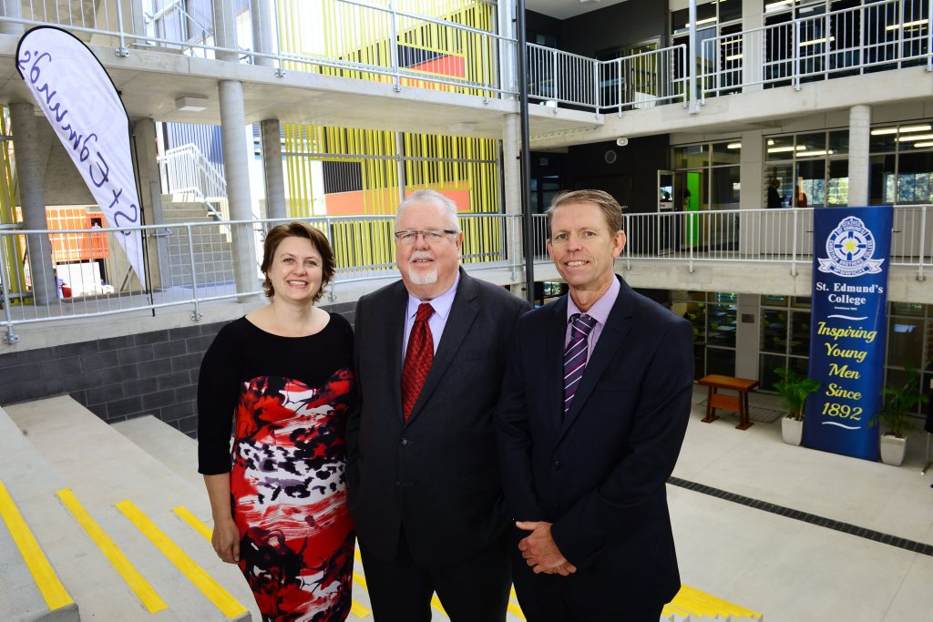 St Edmund's College opens the doors to their newly completed year seven and eight building with guests Teresa Harding and Senator Barry O'Sullivan and School Principal Chris Leadbetter.
