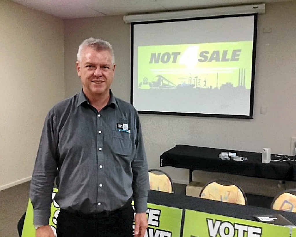 NOT4SALE: Secretary of the Services Union Neil Henderson held a meeting in Rockhampton last night, against the leasing of state assets.
