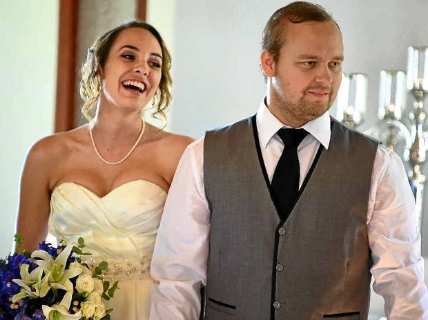 LIVING IN HOPE: DJ Hall and Stephanie Lloyd at their wedding ceremony at Ilkley. They hope to raise enough money for DJ to have cancer treatment in the US.