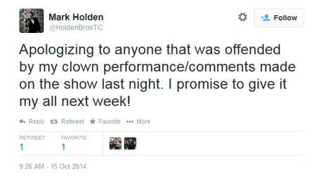 Mark Holden apologises for his DWTS outburst.