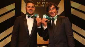 Jarryd Hayne with Johnathan Thurston as joint Dally M Medal winners