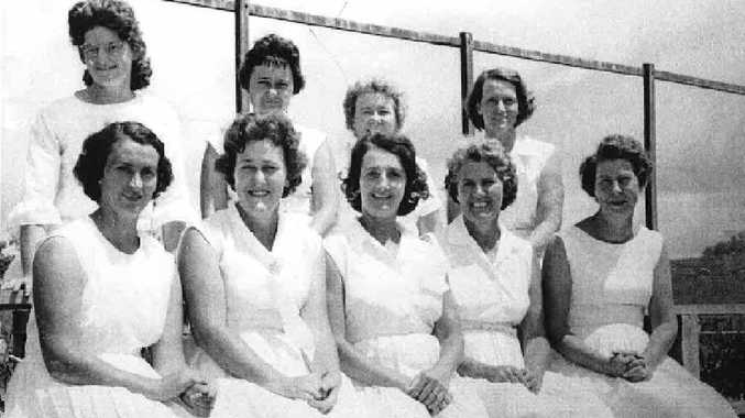 FINE FORM: Mid-week ladies tennis competition players in the early days included (from left back) Joan Gibbs, Del Rowlings, Lu Little and Thel Corney; and (back from left) Joan McDougall, Ailsa Reis, June Berry, Dot Kamp and Ivy Mierer. The players won the summer fixtures in 1964/65 and the winter fixtures in 1965.