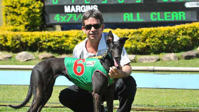 SUCCESSFUL LITTER: Owner / trainer Jason Fredericks with She Goes Woosh, which made it two wins ina row at the Casino greyhounds meeting at Queen Elizabeth Park yesterday.