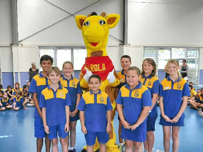 HEALTH MESSAGE: Healthy Harold surprised students at the Gladstone South State School on Wednesday.