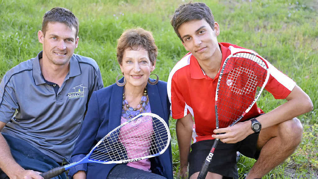 THE BEST: Warwick Rose Squash Club president Lucas Gillott with club champions Gay Erskine and Caleb Johnson.