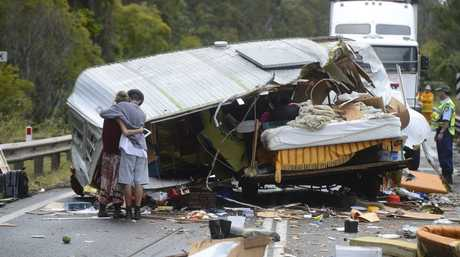 A woman and a friend had a lucky escape when the caravan she was towing start fishtailing down the highway and collided with a truck. The pair escaped injury, though the caravan, the woman's home was destroyed. Photo Adam Hourigan / The Daily Examiner
