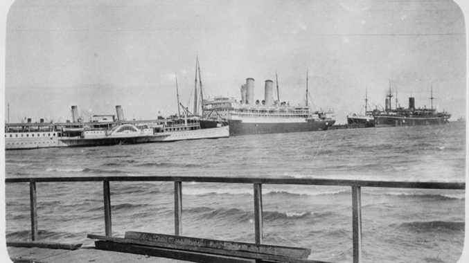 Australian troops ships Orvieto and Omrah wait in Port Melbourne in October 1914 to sail with the first convoy to King George's Sound, off Albany, WA, and then to Egypt. Courtesy of Australian War Memorial P01122.002