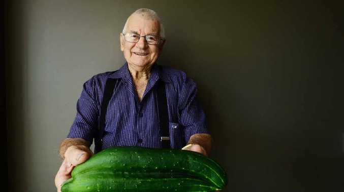 GARDEN SURPRISE: Bert Ross of Brassall with the unusual cucumber from his veggie patch.