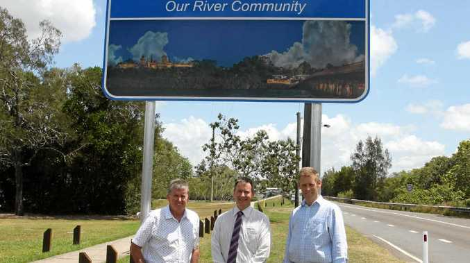YOU'RE WELCOME: The new Welcome to Bli Bli sign has been unveiled. Pictured are the photographer Gary Guest, Cr Stephen Robinson and Bli Bli Community Association president Chris Baker.