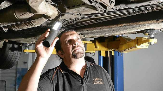 IN BETTER SHAPE: Frank Melendez's new mechanic workshop Car Konverters at Forest Glen has given him a new lease on life.