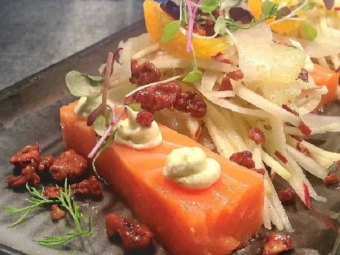 Barbecue smoked salmon, fennel and orange salad.
