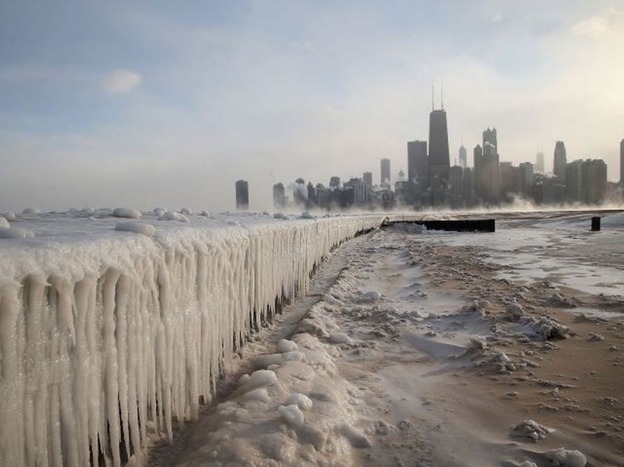 Ice builds up along Lake Michigan at North Avenue Beach in Chicago, Illinois