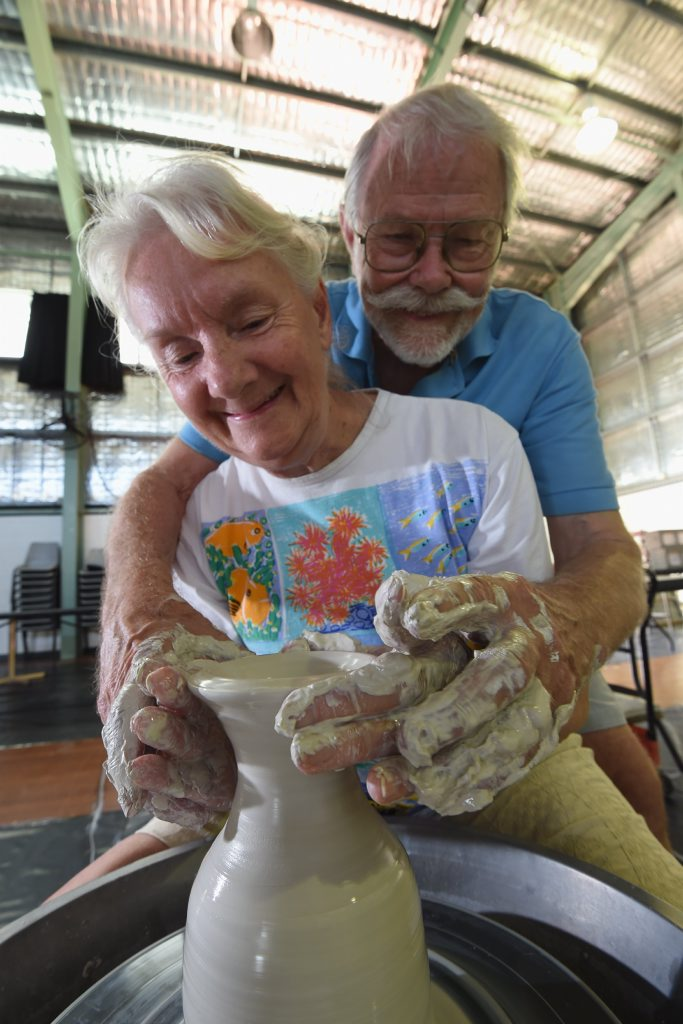 Hervey Bay potters Evelyn and Nick Riphagen, with a combined 70 years of pottery experience, spend some time on the wheel at the convention in Howard.