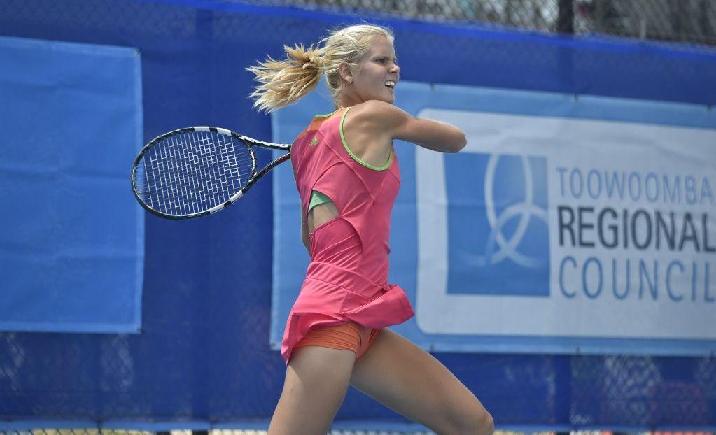 Ellen Allgurin fires back a return against Jessica Moore in today's Toowoomba International women's final at Toowoomba Regional Tennis Centre - USQ.