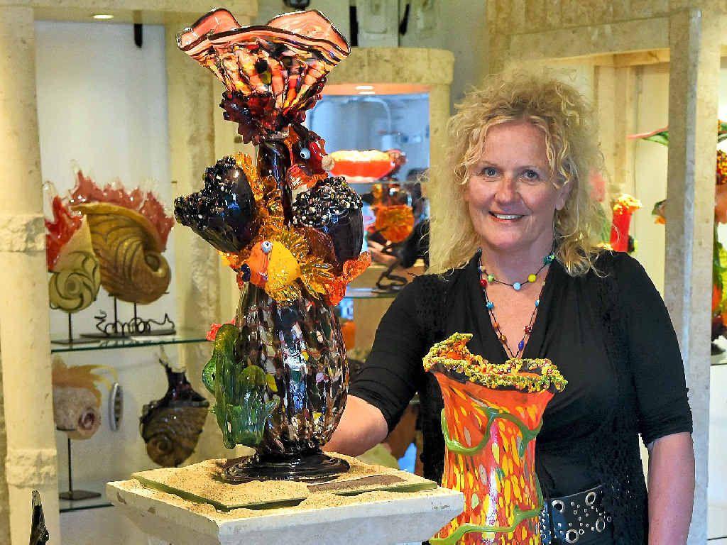 ON THE MAP: Master glass artist Tina Cooper, from Tina Cooper Gallery in Eumundi. Her gallery is part of the Sunshine Coast Hinterland Art Gallery Trail.