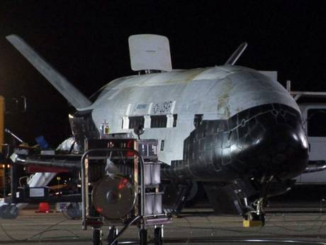 The X-37B, the Air Force's first unmanned re-entry spacecraft, after landing on December 3, 2010