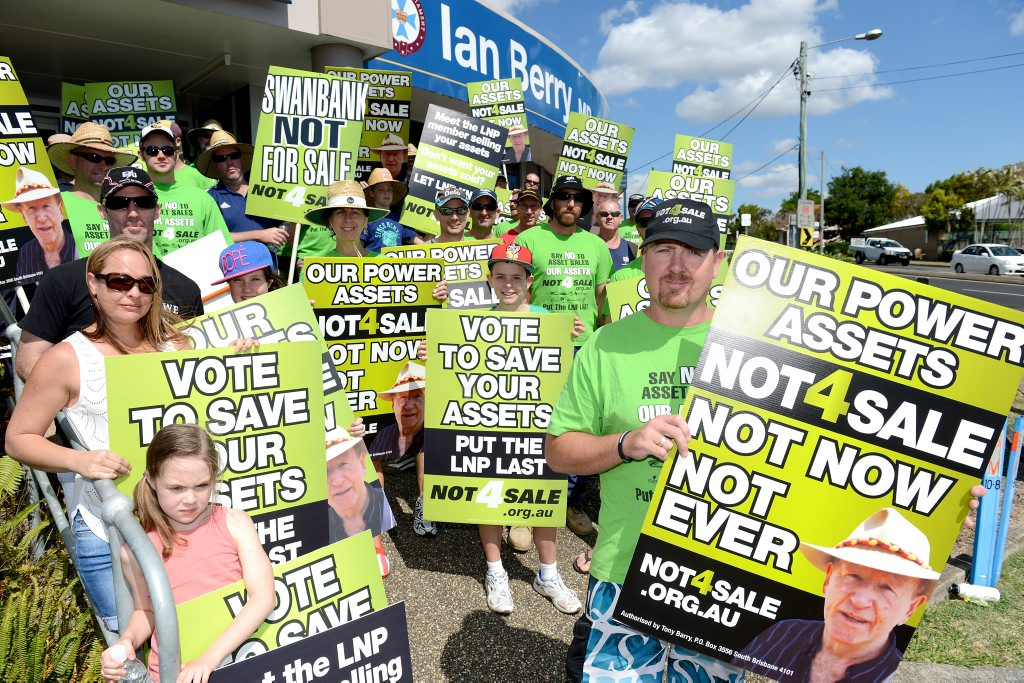 MORE TO COME: Stuart Traill leads his group of protestors at the Not 4 Sale rally outside MP Ian Berry's Booval office.
