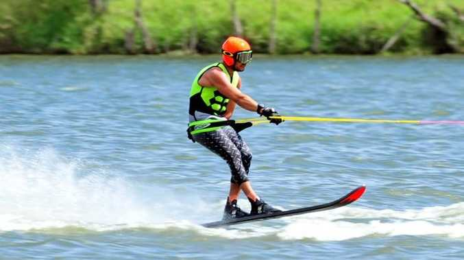 WATER SKIING: 70mph competitor Jamie Conway at round one of the 2014/15 Queensland Ski Racing season at Sandy Hook on Sunday, 19 October 2014. Photo: Max Fleet / NewsMail
