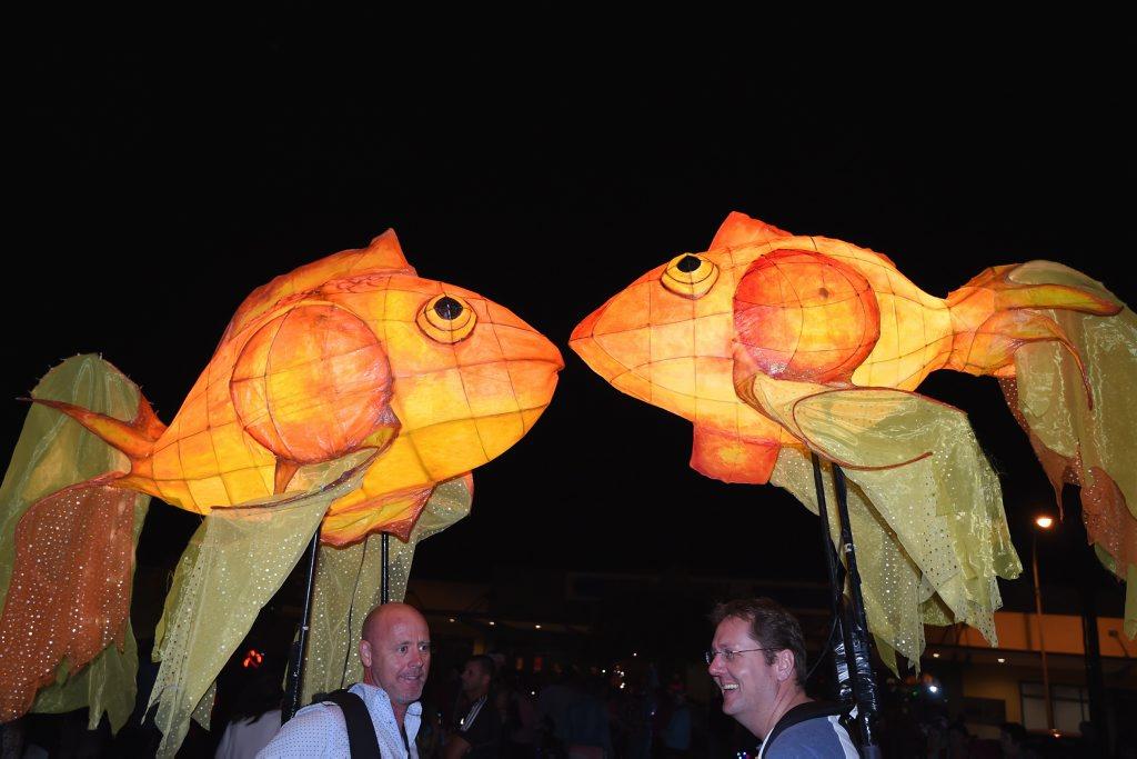 Illuminated goldfish are a colourful addition to the Hervey Bay Whale Festival Illumination Parade.