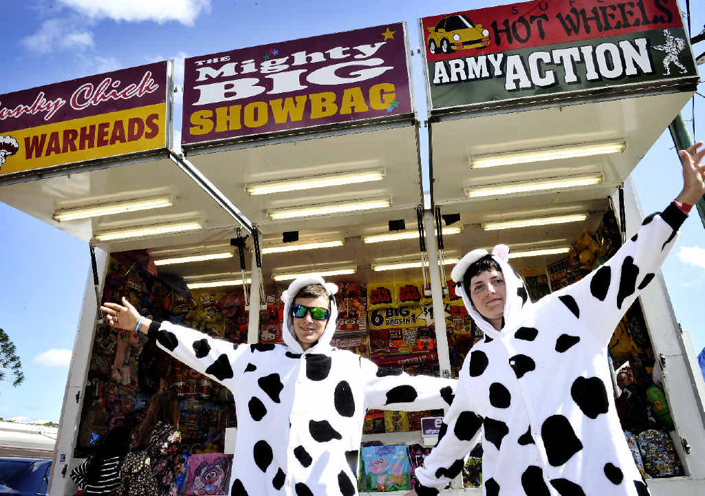Reece McIntyre and Jackson Robinson, both of Lismore, promote the Dairy Spectacular at the North Coast National at the Lismore Showground.
