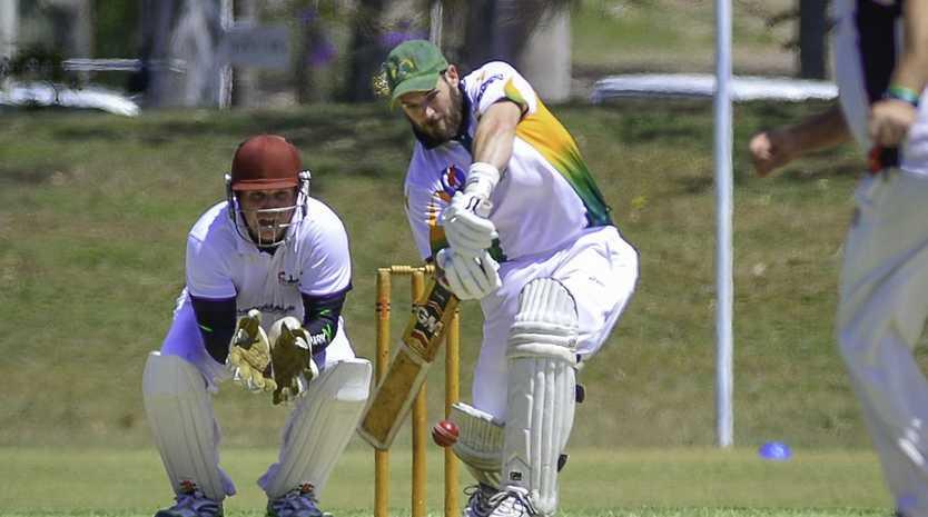 BITS vs Yaralla A Grade Cricket - Dave Webber and Keeper Andrew Bianchi.