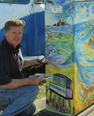 COASTAL LIFE: Artist Thomas Degens with his contribution to the Artside the Box project.
