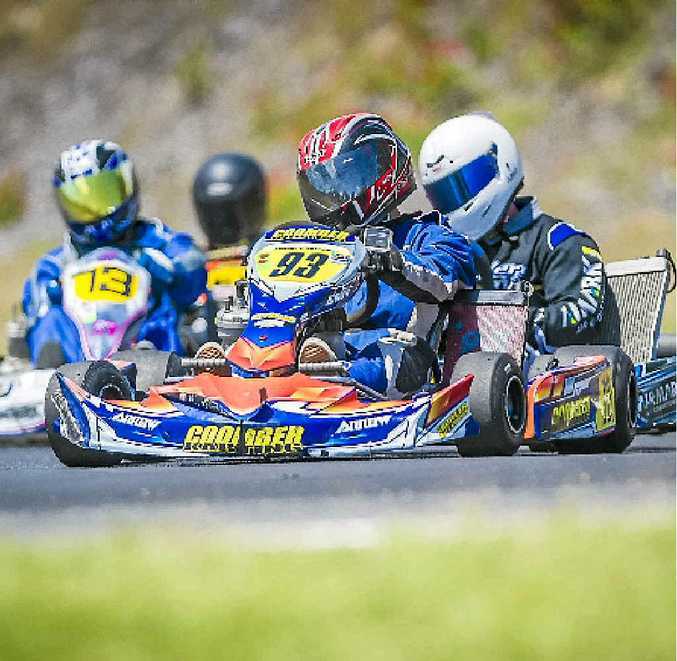 LINE UP: Timmy Coomber leads the way at the Gladstone Kart Club's final meeting of the season.