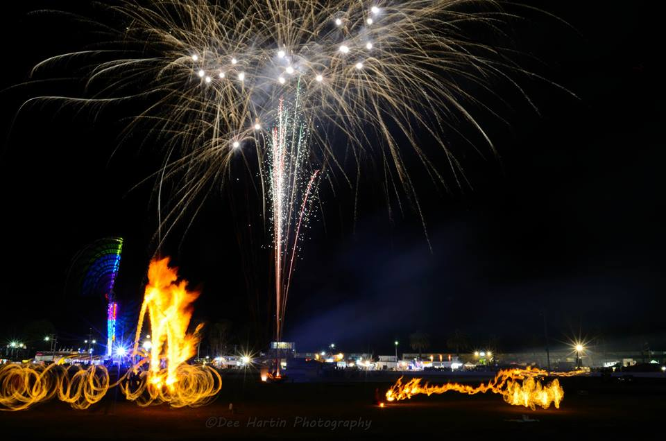 The final night of the North Coast National - fireworks and fire twirlers.