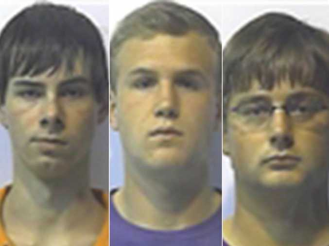 Samuel Miller, Tyler Perry and Dayton Ross Jones have all been held on $1m bail following the gang rape of a 15-year-old boy