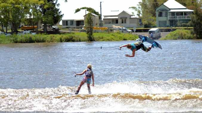 Nick Crisp, Australian junior water-ski champ flips over Georgia Sellings on the Richmond River. Photo Samantha Elley / Northern Star