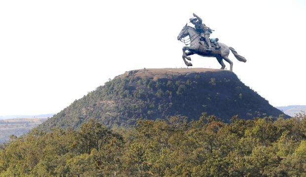 Digitally altered image of bronze statue of the 5th Light Horse in Hervey Bay as if it was on Mount Tabletop near Toowoomba. Tuesday, Oct 21, 2014 . Photo Nev Madsen / The Chronicle