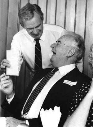 LEGENDS: Former member for Oxley Bill Hayden with Gough Whitlam.