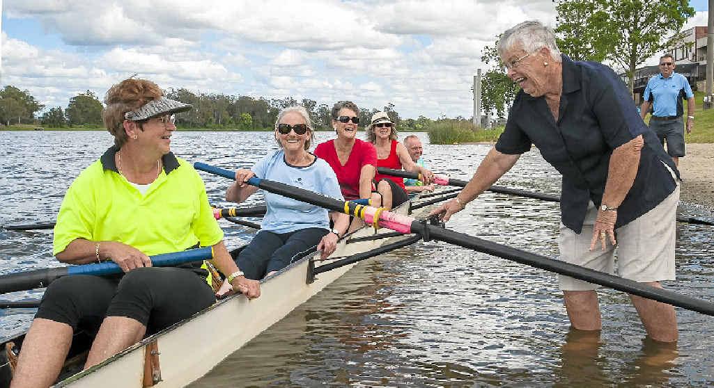 CLASS OF '64: Grafton High School 50th Anniversary rowers Pat Katzikiris, Shirley Williams, Anne Carless and Leonie Coper with original coach Jacky McDonald (nee Bonner). PHOTO: ROB WRIGHT