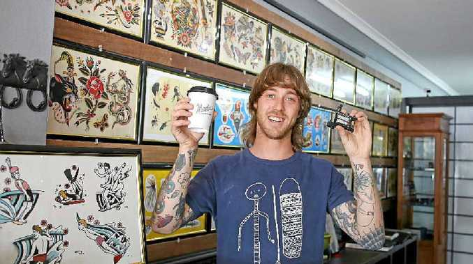 BRANDED: Brodie Jackson from Rock Of Ages Tattoo Parlour in Lennox Head got a tattoo for the sake of some free coffee and for the love of Cafe Marius.