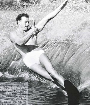 CHAMPION WATERSKIIER: Bill Grenfell in action during his hey day.