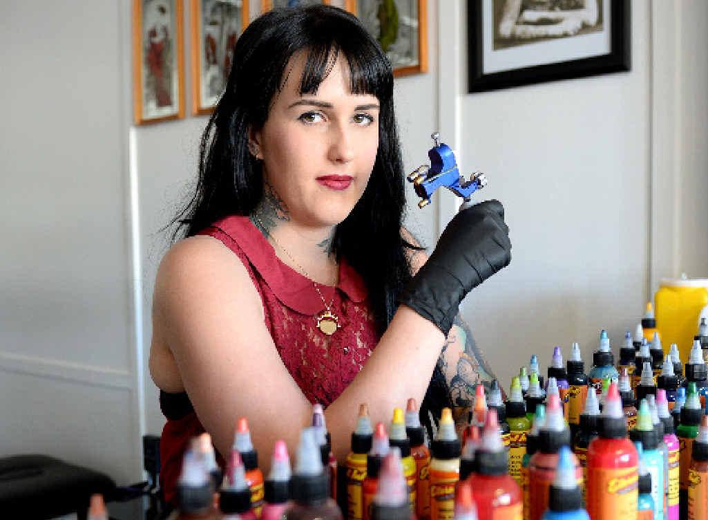 SELF-LOVE: Tattoo artist Haylee Lotter at Arrow's End Tatto studio.