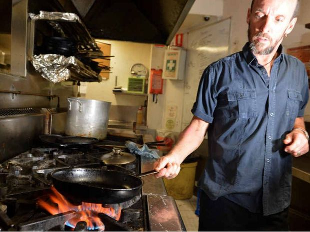 COOKING WITH CASH: Peter Nipperess, of Hot Pipi's at Mooloolaba, says the price of gas has risen every year for the past five years.