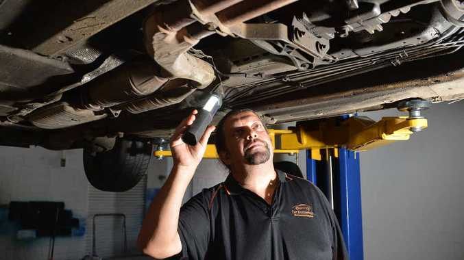 WORRYING: Forest Glen mechanic Frank Melendez has warned car owners of the high cost of repairs at franchised dealerships.