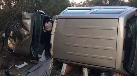 A young mother was lucky to escape serious injury in this crash near Millmerran.