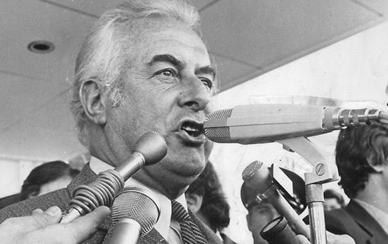 Gough Whitlam as he labels the incoming Prime Minister Malcolm Fraser as