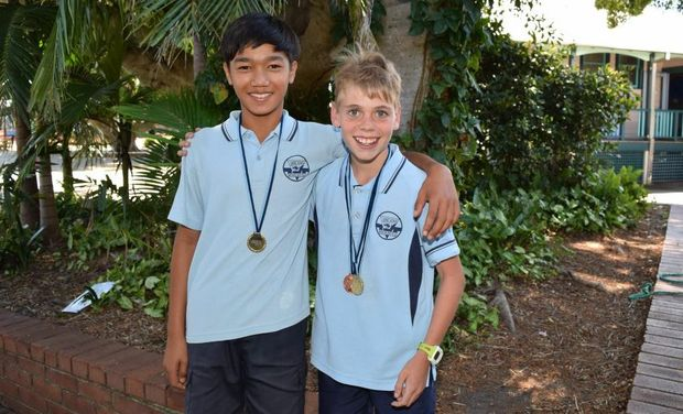 CHAMPS: Panha Doung and Myles Gibson from Byron Bay Public School just back from the NSW State PSSA Athletics Carnival.