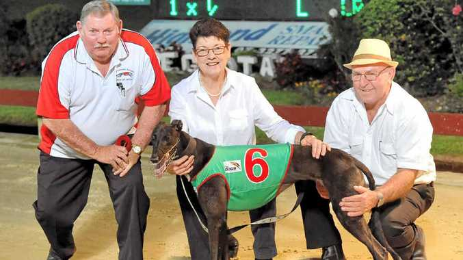 AT LEFT: Trainer Lee Wylie hopes Birkdale Beauty, pictured here with connections after her super run in last Friday's heats, can earn him victory in this Friday's Group 2 Lismore Workers Club Cup.