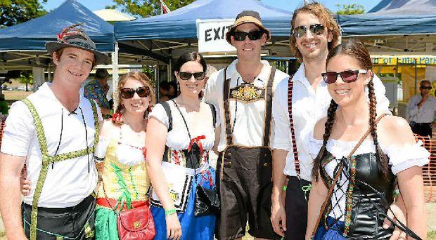 IN THE SPIRIT: Matt Handley, Laura Schulz, Sarah Watson, Darren Bellamy, Christian Bennett and Mischa Bongers at last year's Oktoberfest celebrations which are on again this weekend.