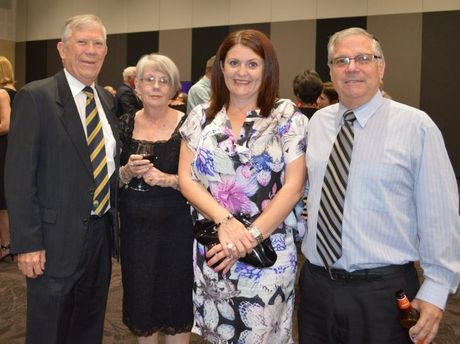 David Manttan with work colleagues Irene Currell, Kerri Dromgoole and Bart Duffy at the celebration for his 45 years in education.