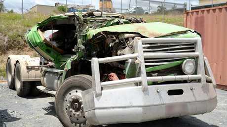 The truck involved in a fatal crash near Rockhampton.