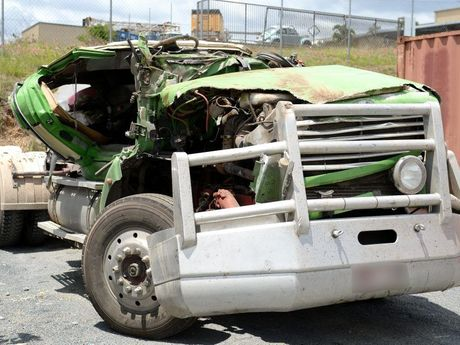 The truck involved in a fatal crash near Rockhampton.