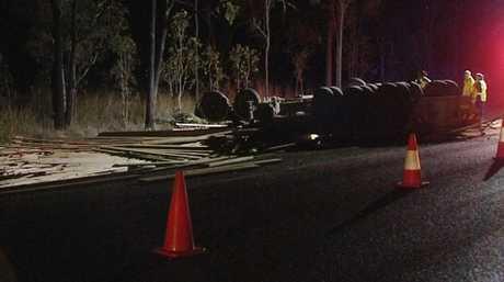 The scene of a fatal truck crash.