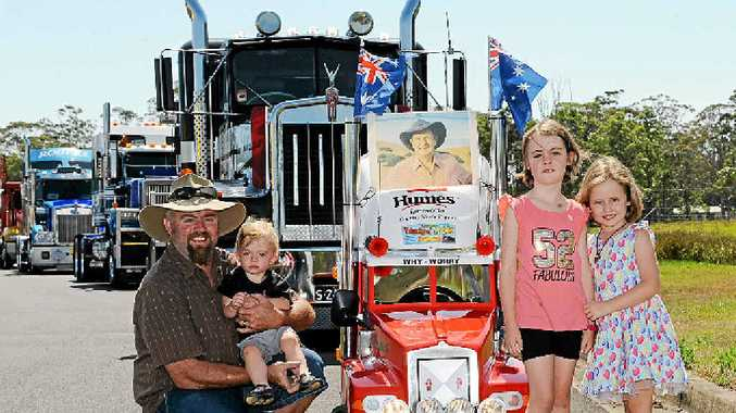 WINNER: Ashley Towers winner of the Brett Ward Memorial Trophy in the 2013 Mullumbimby Truck Show with son, Beau, Brooke, and Zoe.